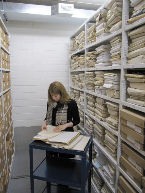 Project Archivist Claire Weatherall with part of the Francis Johnson Collection