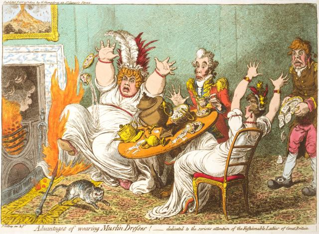 "Gillray - ""The Advantages of Muslin Dresses"""